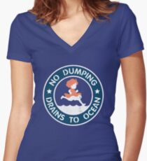 Seaside Signage Women's Fitted V-Neck T-Shirt