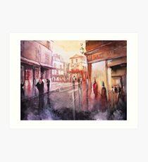 Watercolor - Sunset over Montmartre - Paris Art Print