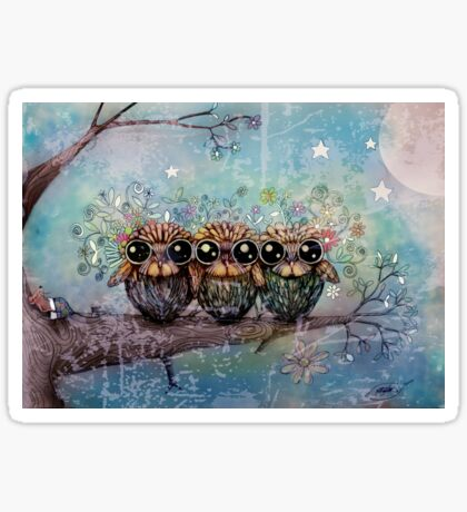 three little night owls Sticker