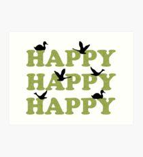 Green Digital Camo Happy Happy Happy Art Print