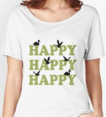 Green Digital Camo Happy Happy Happy Women's Relaxed Fit T-Shirt