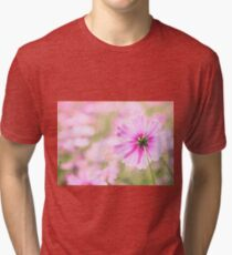 Lovely Pink Cosmos Flower Field Vintage Paper Tri-blend T-Shirt