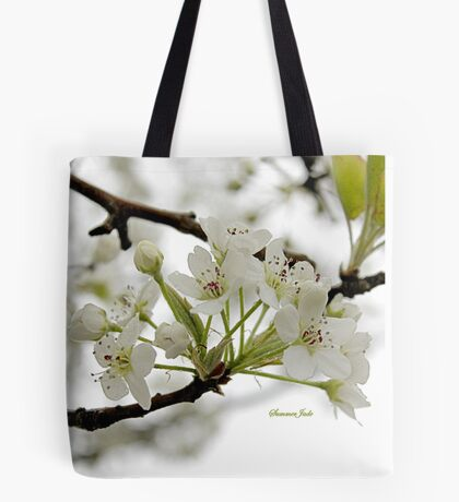 White on White ~ in Morning Rain Tote Bag