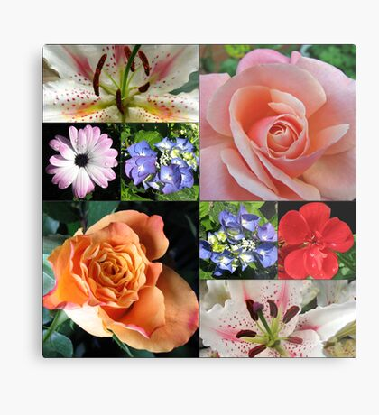 Floral Collage with Roses and Lilies Metallbild
