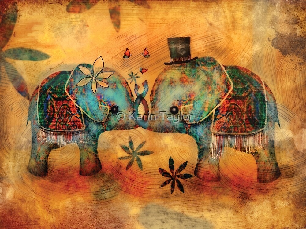 Vintage Elephants by © Karin Taylor