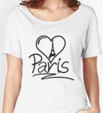 Paris Heart Women's Relaxed Fit T-Shirt