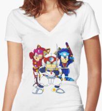 Samurai Pizza Cats - Group Color Women's Fitted V-Neck T-Shirt