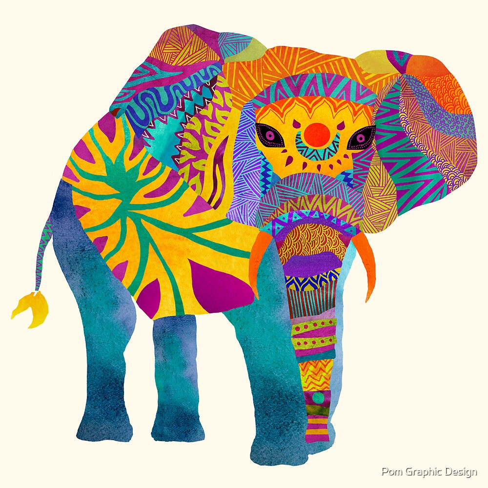 Whimsical Elephant by Pom Graphic Design