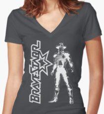 BraveStarr - Marshall BraveStarr - White Line Art Women's Fitted V-Neck T-Shirt