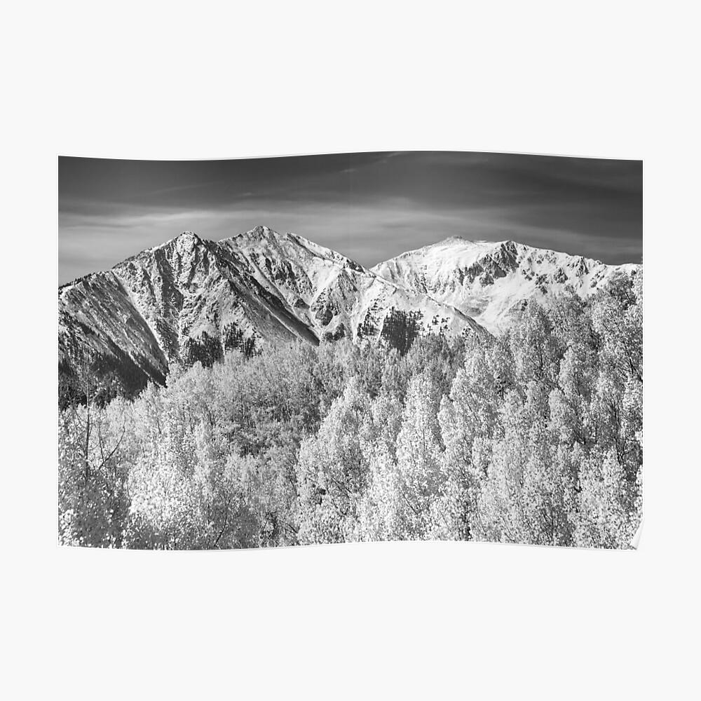 Colorado Rocky Mountain Autumn Magic Black and White Poster
