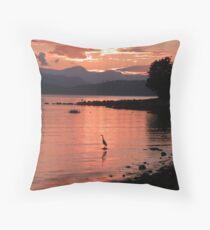 Sunset Heron Throw Pillow