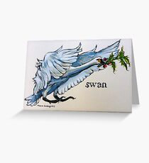 Swan. ('Seven swans a-swimming...'). The twelve days of Christmas. Greeting Card