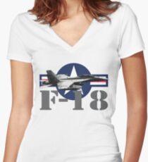F-18 Super Hornet Women's Fitted V-Neck T-Shirt