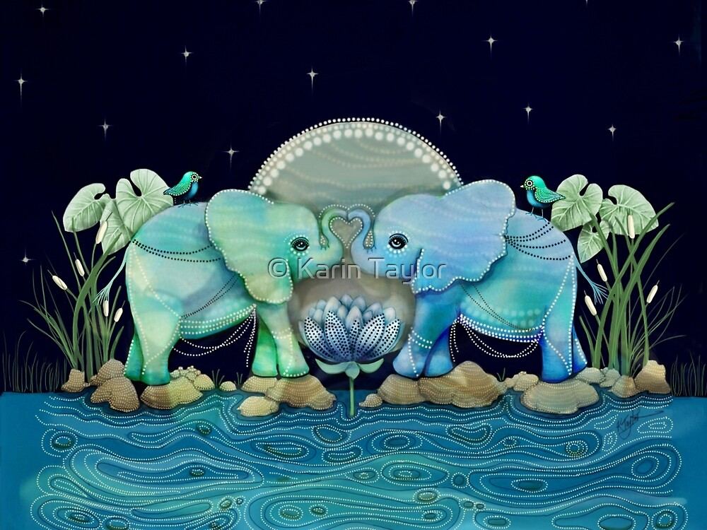 Quot Lotus Flower Elephants Ocean Blue And Sea Green Quot By