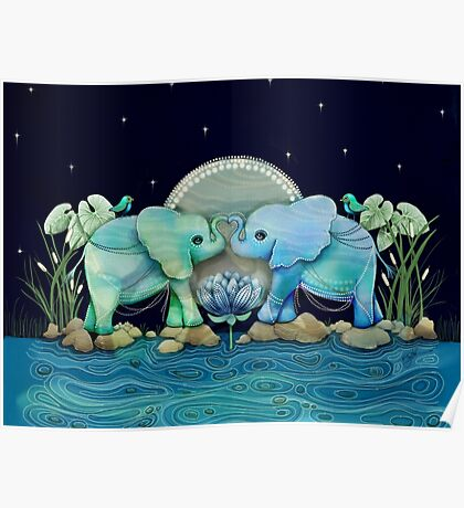 Lotus Flower Elephants Ocean Blue and Sea Green Poster