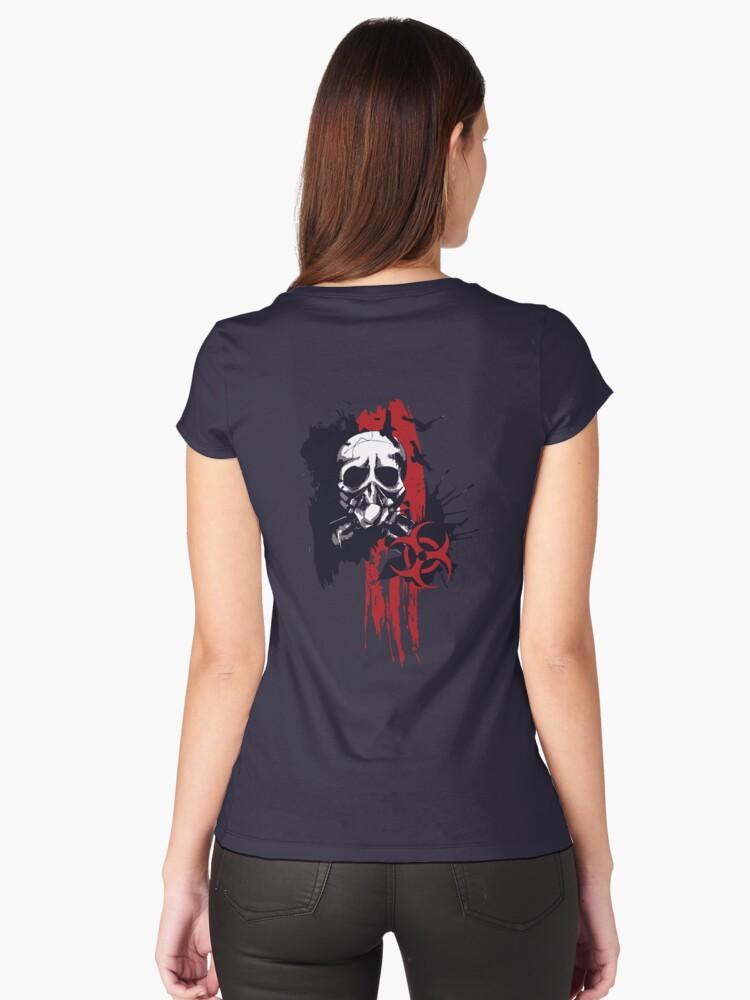 Polka trash holocaust skull tattoo design women 39 s fitted for Tattooed white trash t shirt