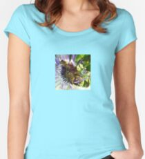 Passion Flower and Honey Bees Collecting Pollen Women's Fitted Scoop T-Shirt