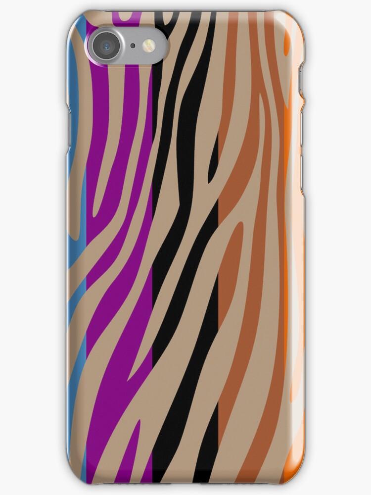 Animal Print Skin Zebra Retro Colorful Pattern 3 by Nhan Ngo