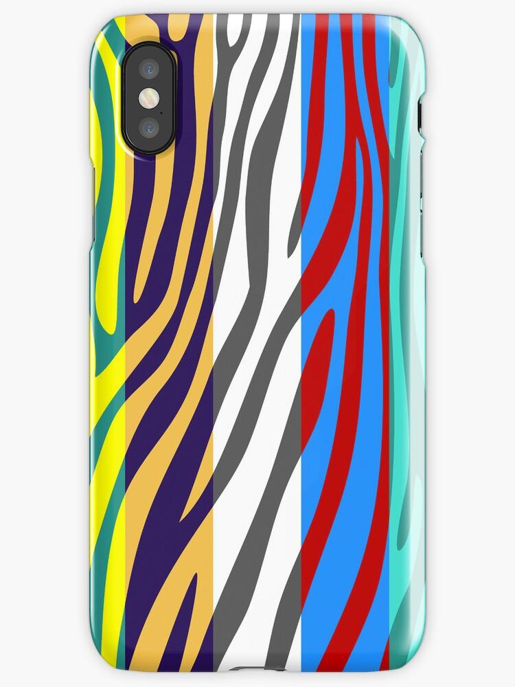 Animal Print Skin Zebra Retro Colorful Pattern 4 by Nhan Ngo