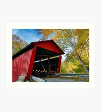 Red Covered Bridge and Giant Sycamore Art Print