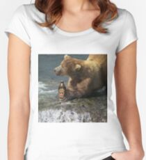 Bear catching beer in a river Women's Fitted Scoop T-Shirt