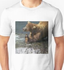Bear catching beer in a river Unisex T-Shirt
