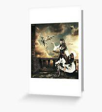 Steampunk Warrior and Little Miska Greeting Card