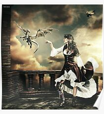 Steampunk Warrior and Little Miska Poster