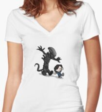 Ripley and alien Women's Fitted V-Neck T-Shirt