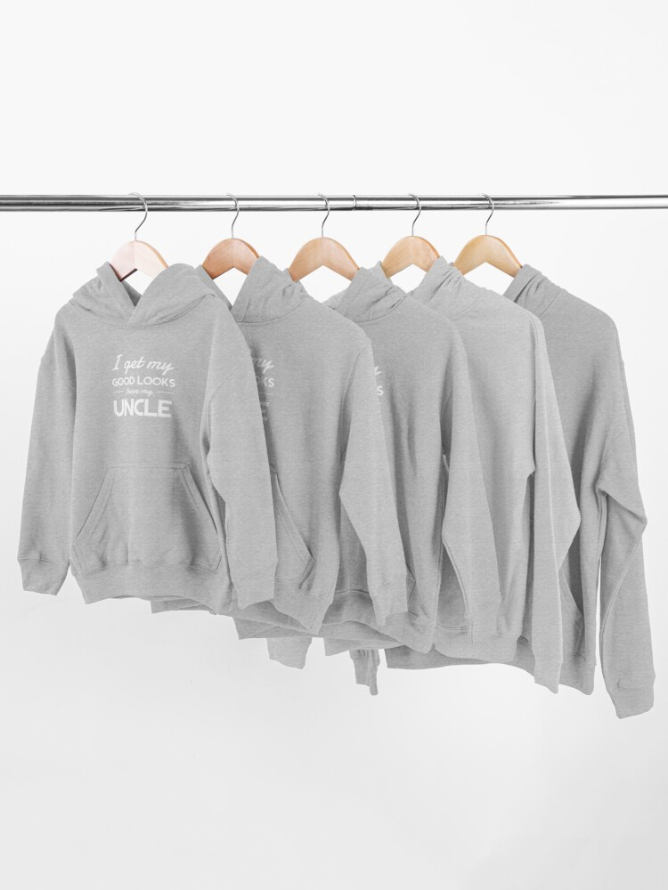 Alternate view of I get my good lucks from my uncle Kids Pullover Hoodie
