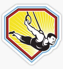 Crossfit Athlete Muscle-Up Gymnastics Ring Retro Sticker