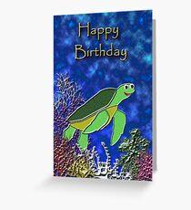 Happy Birthday Sea Turtle Greeting Card