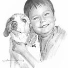 Boy and dog drawing by Mike Theuer