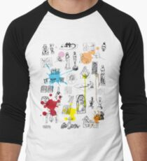History of Art (w/ paint splashes) Men's Baseball ¾ T-Shirt