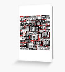 SPLASHYARTYSTORY - ALL ABOUT BUILDINGS red Greeting Card
