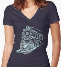 vintage train illustration Women's Fitted V-Neck T-Shirt