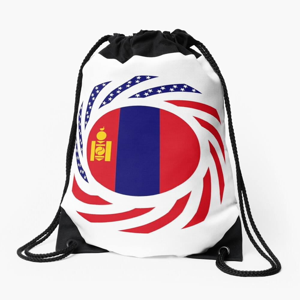 Mongolian American Multinational Patriot Flag Series Drawstring Bag