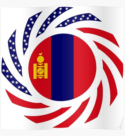 Mongolian American Multinational Patriot Flag Series Poster