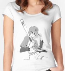 Yoshiyuki Sadamoto FLCL Haruko Women's Fitted Scoop T-Shirt
