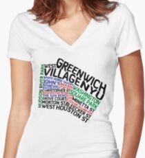 Camiseta entallada de cuello en V Typographic Greenwich Village Map, NYC