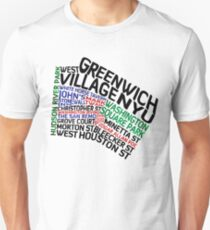 Typographic Greenwich Village Map, NYC Unisex T-Shirt