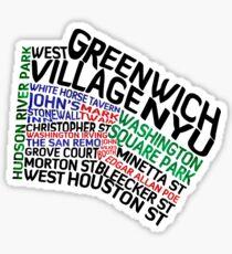 Typographic Greenwich Village Map, NYC Sticker