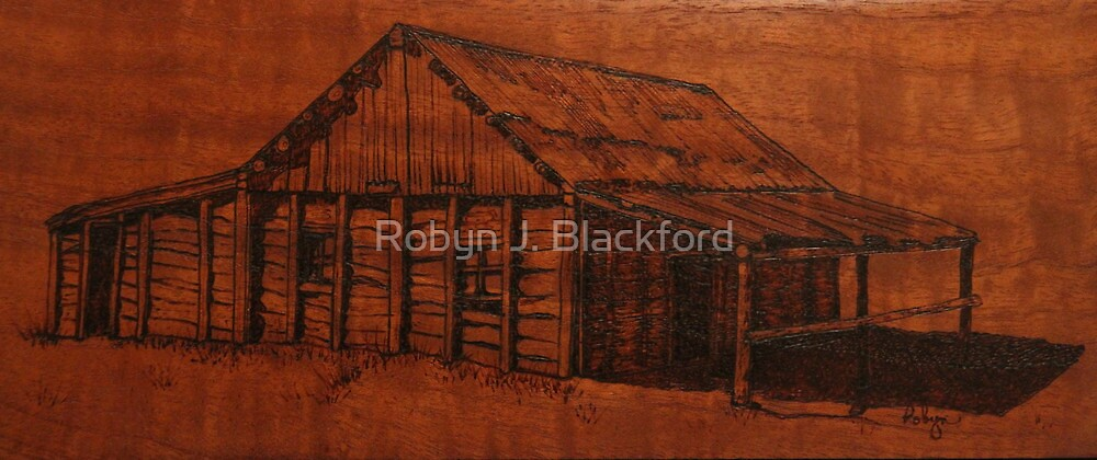 Pyrography: An Australian Slab Hut by aussiebushstick