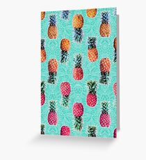 From Pineapple to Pink - tropical doodle pattern on mint Greeting Card