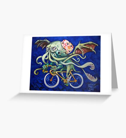 Cthulhu On A Bicycle Greeting Card