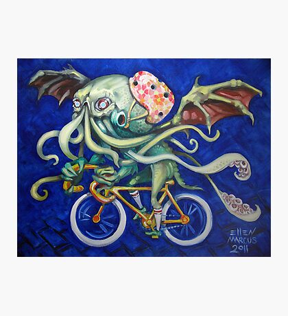 Cthulhu On A Bicycle Photographic Print
