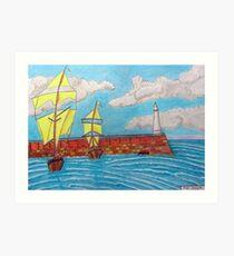 392 - TYNEMOUTH PIER - DAVE EDWARDS - COLOURED PENCILS - 2013 Art Print