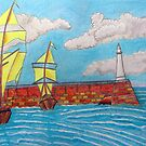 392 - TYNEMOUTH PIER - DAVE EDWARDS - COLOURED PENCILS - 2013 by BLYTHART