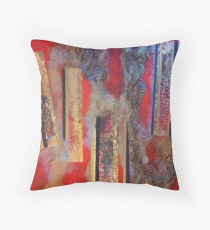 City caught in streams of lava Throw Pillow