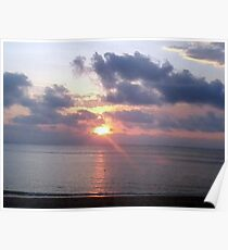 Sunset through the clouds Poster